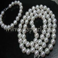 Sets 10mm ronde zoetwaterparels ketting 25