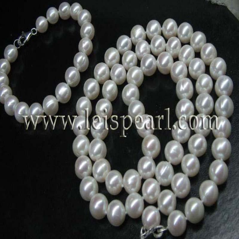 Sets 10mm round freshwater pearl necklace 25length  &  bracelet  8Sets 10mm round freshwater pearl necklace 25length  &  bracelet  8