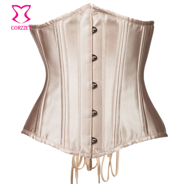Corzzet Vintage Beige Steel Boned Underbust Corsets And Bustiers Waist Slimming Sexy Gothic Corpetes E Espartilhos