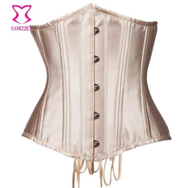 Corzzet vintage beige deshuesado acero de underbust corsés y bustiers cintura que adelgaza sexy gothic corpetes e espartilhos
