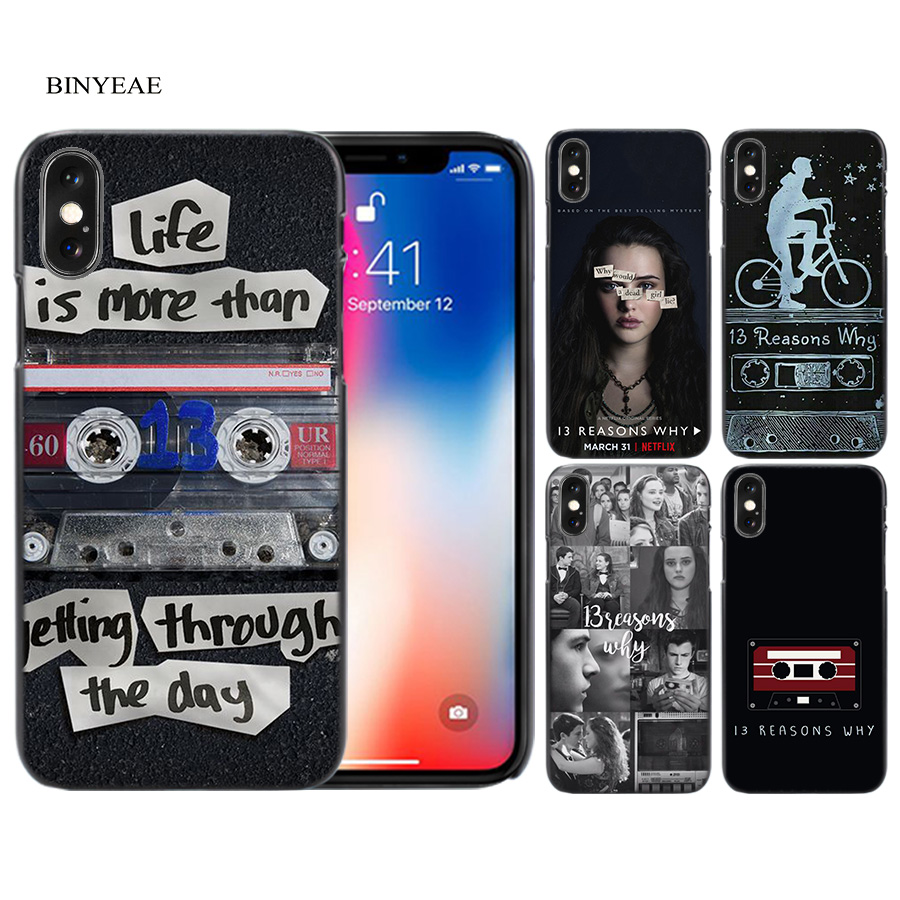 BINYEAE <font><b>13</b></font> Thirteen <font><b>Reasons</b></font> <font><b>Why</b></font> Black Scrub Hard <font><b>Case</b></font> Cover Shell for <font><b>iPhone</b></font> 6 6s 7 8 Plus X 5 SE 5S 5C