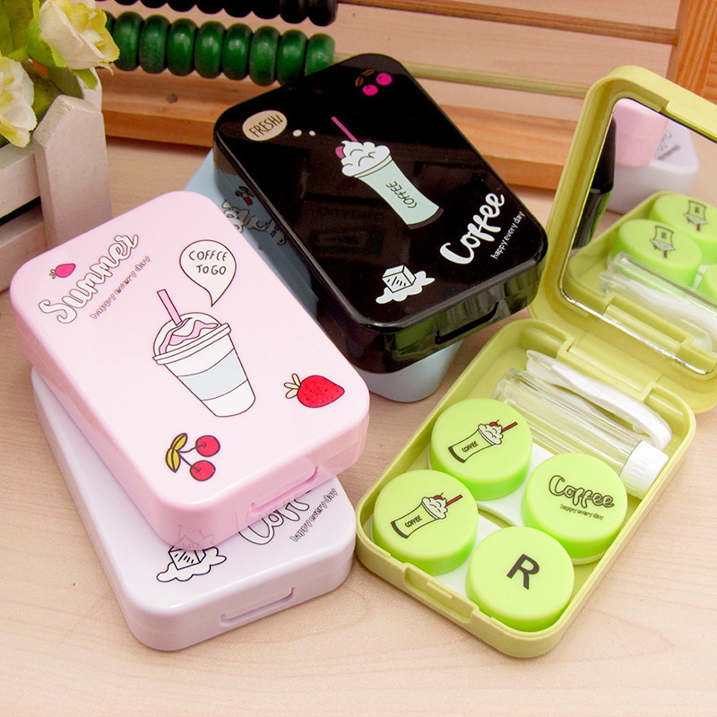 LIUSVENTINA Cute Coffee Time Drink Contact Lens Case With Mirror Box Container For Contact Lens Merry Christmas Gift For Girls
