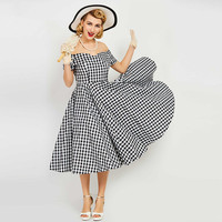 1950s Vintage Dress Mid Calf Sun Dress Slash Neck Plaid Summer Short Sleeve Off The Shoulder