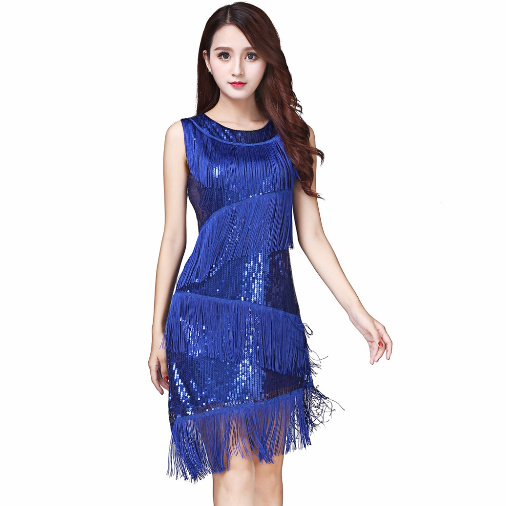 Performance Women Dance Wear Dinner Dress Salsa Costume Set Sleeveless Ballroom Competition Sequins Fringes Girls Latin Dresses