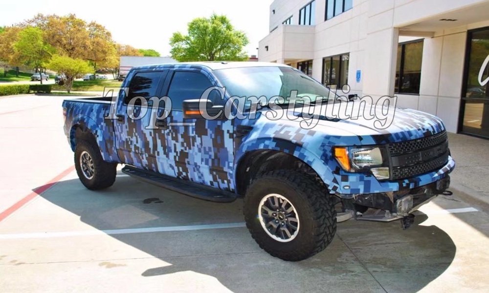 Protwraps Deep Blue & Sky Blue Camouflage Camo Vinyl Graphic Decal Sticker Van Truck Vehicle Car Hot Rod Race With Air-release free shipping 1pc 580mm dirty tire 4wd off road graphic vinyl sticker for 4x4 truck pickup decals badges detailing sticker