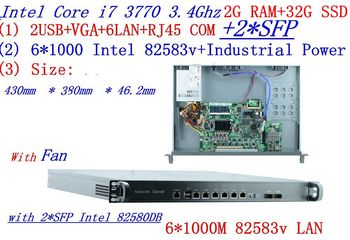 cheap server rack 1U routers with 6*1000M 82583V Gigabit with 2*SFP InteL I7 3770 3.4Ghz 2G RAM 32G SSD support ROS RouterOS etc