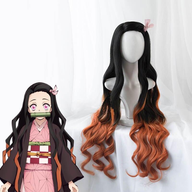 Anime demônio slayer: kimetsu não yaiba nezuko kamado peruca longa resistente ao calor do cabelo sintético perucas cosplay perucas + peruca boné