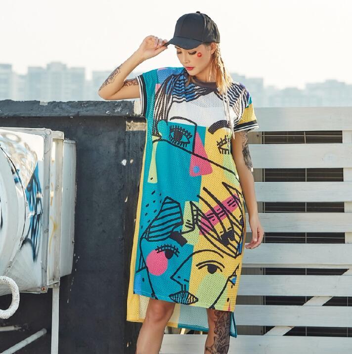 New Pre-Sale 2018 Fashion Printed Dresses For Women Cartoon Graffiti Straight Long T Shirts Dress Streetwear Hip Hop Dance Cloth