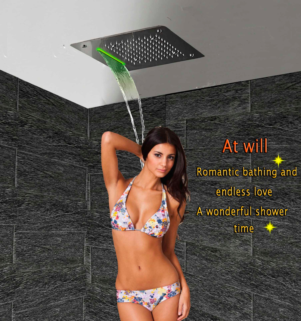 Luxury Shower Head LED Ceiling Square 400x400 SUS304 Stainless Bathroom Products Accessories Waterfall Rain Mist Overhead