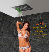 Luxury Shower Head LED Ceiling Square 400×400 SUS304 Stainless Bathroom Products Accessories Waterfall Rain Mist Overhead Shower