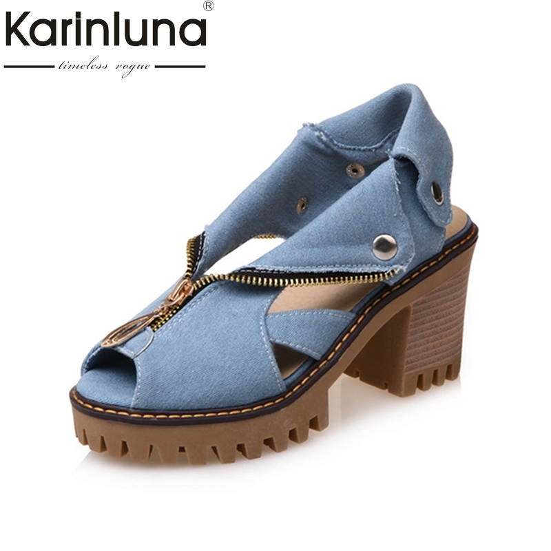 KARINLUNA Big Size 34-43 Demin Upper Peep Toe Platform Rome Style Women Shoes Leisure Square Heels Zip Up Woman Sandals women peep toe sandals summer platform wedge invisible high heels boots rome style side zip casual shoes woman silver blue white
