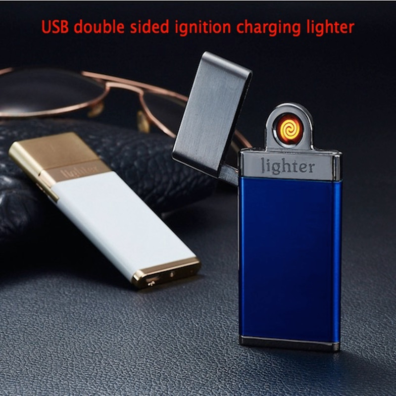 10pcs/lot New Double-sided Electric Wire USB Charging Lighter Ultra-thin Windproof Cigarette Lighter (Random color)