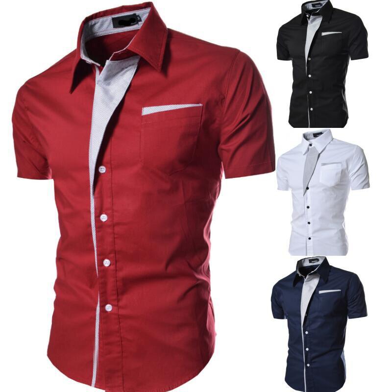 Classic Color Matching Shirt Men's Casual Slim Short-sleeved Shirt  Short Sleeve Shirt  Men Clothing 2018 M-XXXL