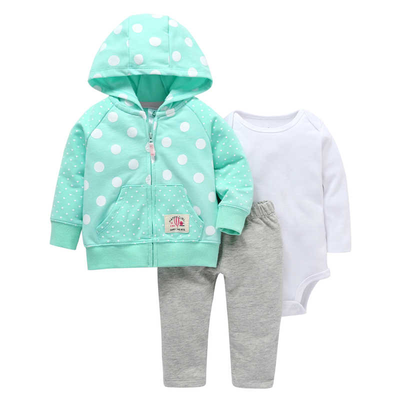 8f06c8ac7086 Long sleeve hooded dot coat white romper gray pants baby girl clothes  cotton Infant newborn baby