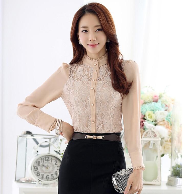 2015 Fall New Womens Lace Crochet White Shirt High Collar