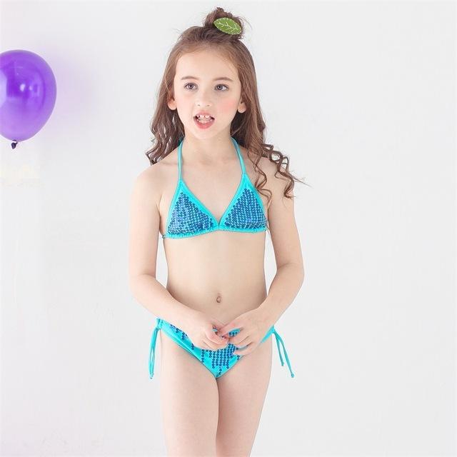 Girl Sequined Split Bikini 2018 New Girls Two Pieces Bathing Suits Girl Swimsuit Children Bikini Sets Kids Beachwear Costumes