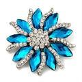 """2.2 """" tons de prata strass cristal Diamante e Red Marquise pedra broche de flor partido Prom pinos"""
