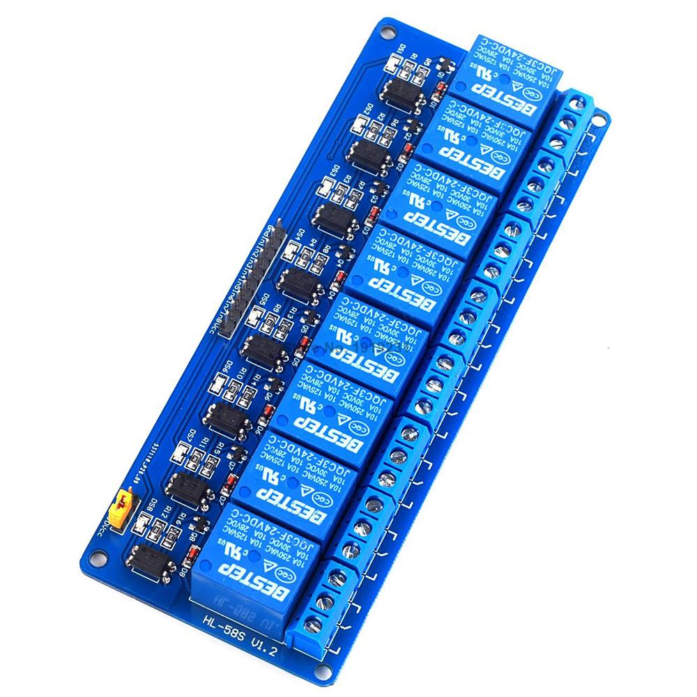 1PCS 8 Channel 24V Relay Module Low Level 8Channel Relay Module for Arduino 8 channel 8 bit logic level bi directional converter module txb0108 for arduino