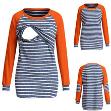 Spring Autumn Stripe Tee Women Maternity Nursing Clothes Long Sleeve Breastfeeding Tops Pregnancy Nursing T-shirt hamile giyim(China)