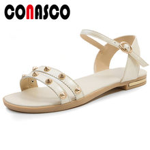 CONASCO Leisure Shopping Summer Sandals Women New Classic Design Low Heels Rivet Buckle Strap Basic Sandals Summer Shoes Woman(China)