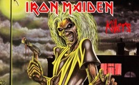 Iron Maiden Killers Flag Digital Printed Banner Polyester Hand Flags 90x150cm White Sleeve With 2 Metal