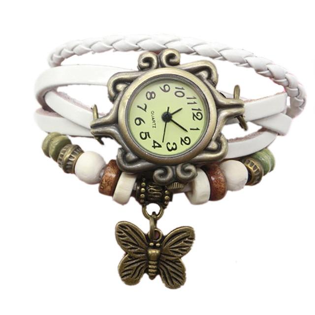 18 styles de mode Bracelet en cuir montre femmes tenue décontractée Vintage feuille perles montre-Bracelet de luxe Quartz femmes montre A300313