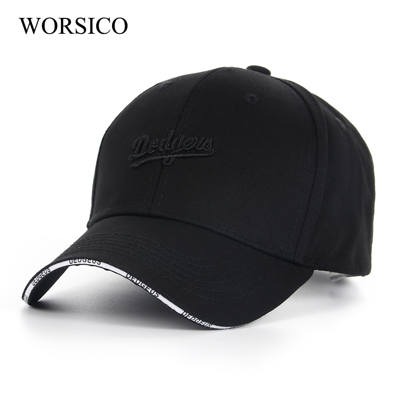 WORSICO 2017 High Quality Baseball Caps Women Men Brand Cap Black Hat Snapback Caps Men Cotton Adjustable Gorras Planas Female high quality plain dyed sand washed 100% soft cotton cap sport hat gorras snapback cap outdoor sun hat for women caps