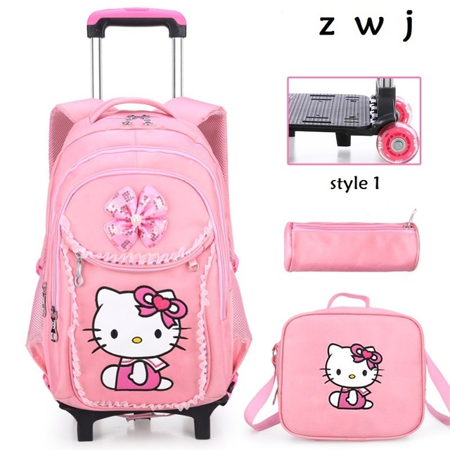 697f9c3fb088 Buy 1 get 3 Hello Kitty Children School Bags set Kids Suitcase With Wheels  Trolley Luggage For Girls Travel Trolley backpack