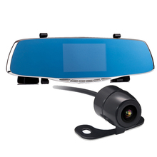Hot! 4.3″ car camera rearview mirror auto dvrs dual lens dash cam recorder video registrator camcorder full hd1080p night vision