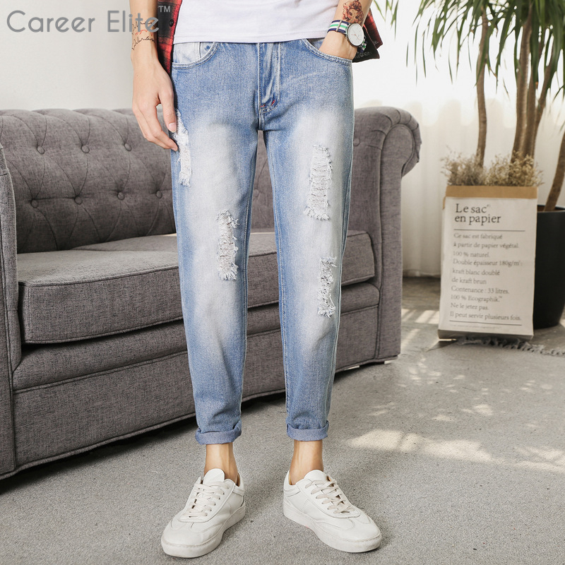 2018 New Arrival Fashion Men's Jeans Brand Washed Distressed Jeans For Men Casual Pants Designer Blue Jeans Men Vaqueros Hombre