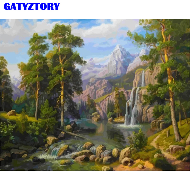 GATYZTORY Frame Forest Waterfall Diy Painting By Numbers Kits Handpainted Oil Painting Wall Art Picture Acrylic Paint By Number