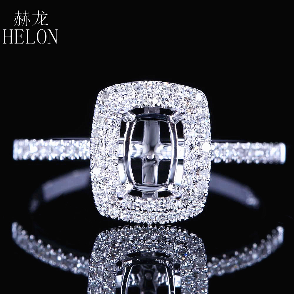 HELON Fine Jewelry Women Solid 14K White Gold 4X6mm Cushion Cut Engagement Semi Mount Two Halo Pave Natural Diamond Wedding Ring цена