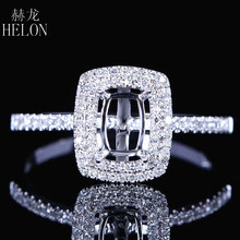 HELON Fine Jewelry Women Solid 14K White Gold 4X6mm Cushion Cut Engagement Semi Mount Two Halo