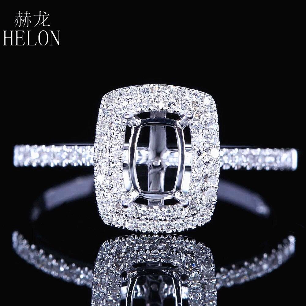 HELON Fine font b Jewelry b font Women Solid 14K White Gold 4X6mm Cushion Cut Engagement