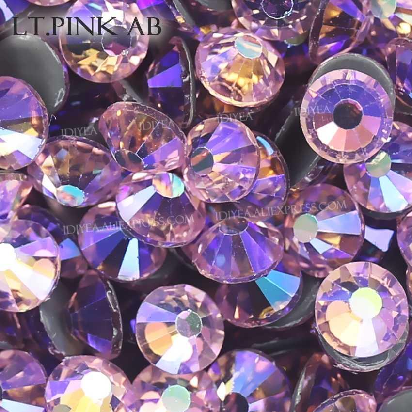Lt.Pink AB sıcak düzeltme flatback rhinestones elbise art glitters kristaller düzeltme strass taşlar giysi giysi köpüklü payetler
