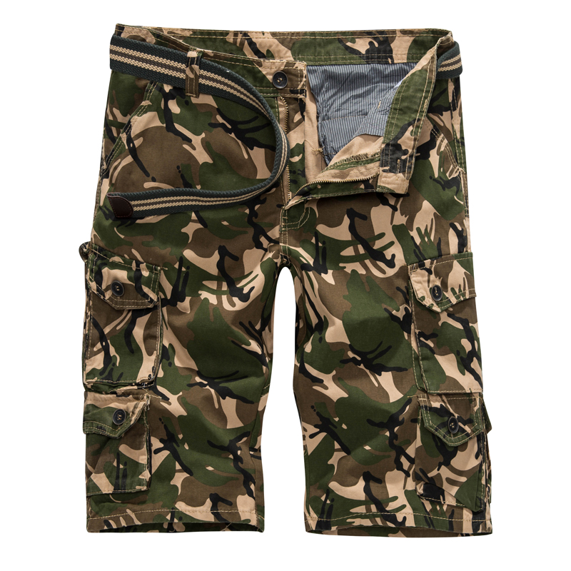 2018 New Camouflage Cargo Shorts Men Summer Military Camo Short Pants Hot Sale Homme Short trousers baggy camo shorts no belts