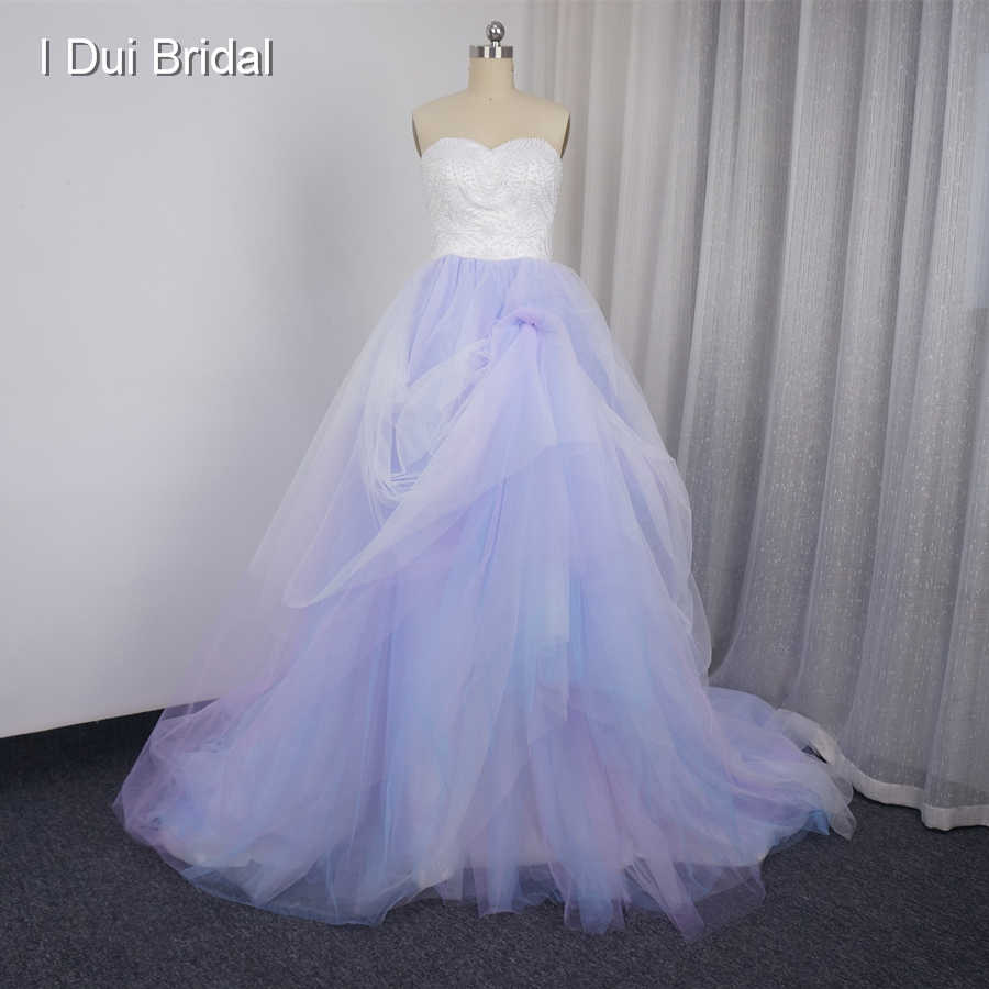 Blue Purple Pink Colorful Wedding Dresses Tulle Layers Pearl Beaded Ball Gown Sweetheart Real Photo