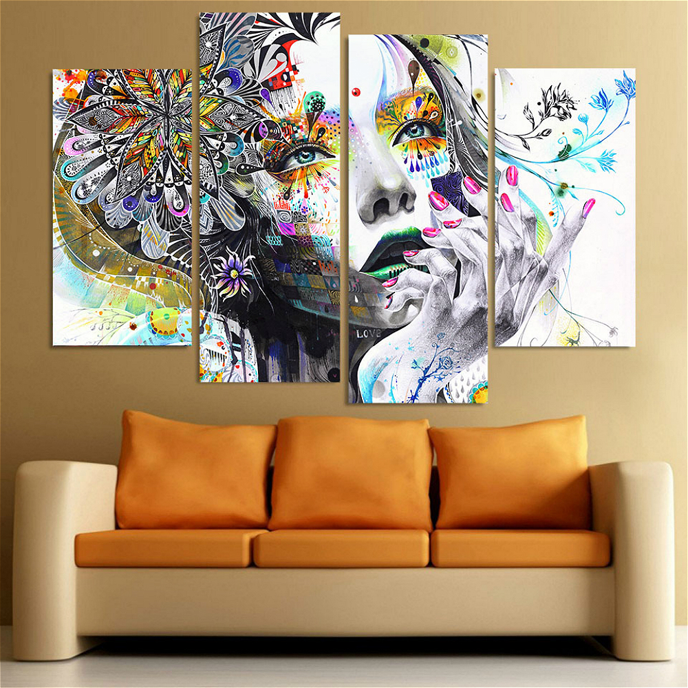 Beauty Cartoon Flowers Girl HD Print 4 Pieces Wall Art Canvas Painting for Living Room Wall Decor Picture Flower Home Decoration in Painting Calligraphy from Home Garden