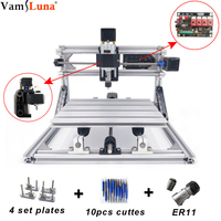 DIY CNC 3018 Router Kit GRBL Control 3 Axis Wood Carving Laser Milling Engraving Machine, XYZ Working Area 300x180mm