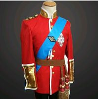 UK Singer Red Royal Guard Service Blazer Jacket Costumes Men Studio Court Dress Fence Prom Formal