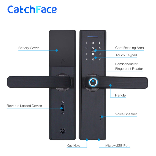 Fingerprint Lock Smart Card Digital Code Electronic Door Lock Home Security Mortise Lock with 5 Mortise Size Options 5