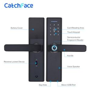 Image 5 - Parmak izi kilidi akıllı kart dijital kod elektronik dış kapı kilidi ev güvenlik gömme kilit 5 gömme boyut seçenekleri