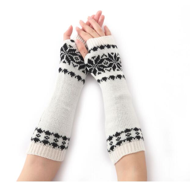 Womens And Mens Long Stretch Knitted Crochet Fingerless Braided