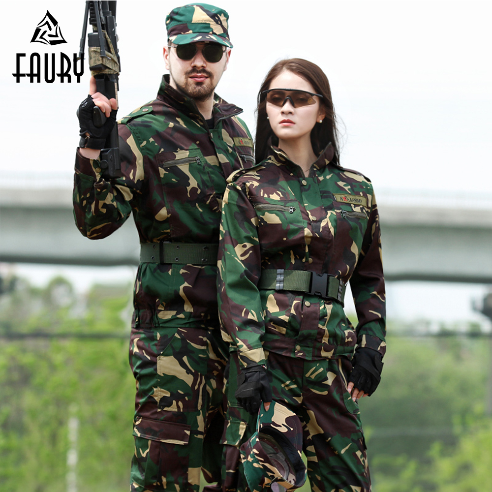 Military Uniform Special Forces Outdoor Camouflage Suit Training CS Combat Hunting Clothes Long Sleeve Jacket + Pants Men Women