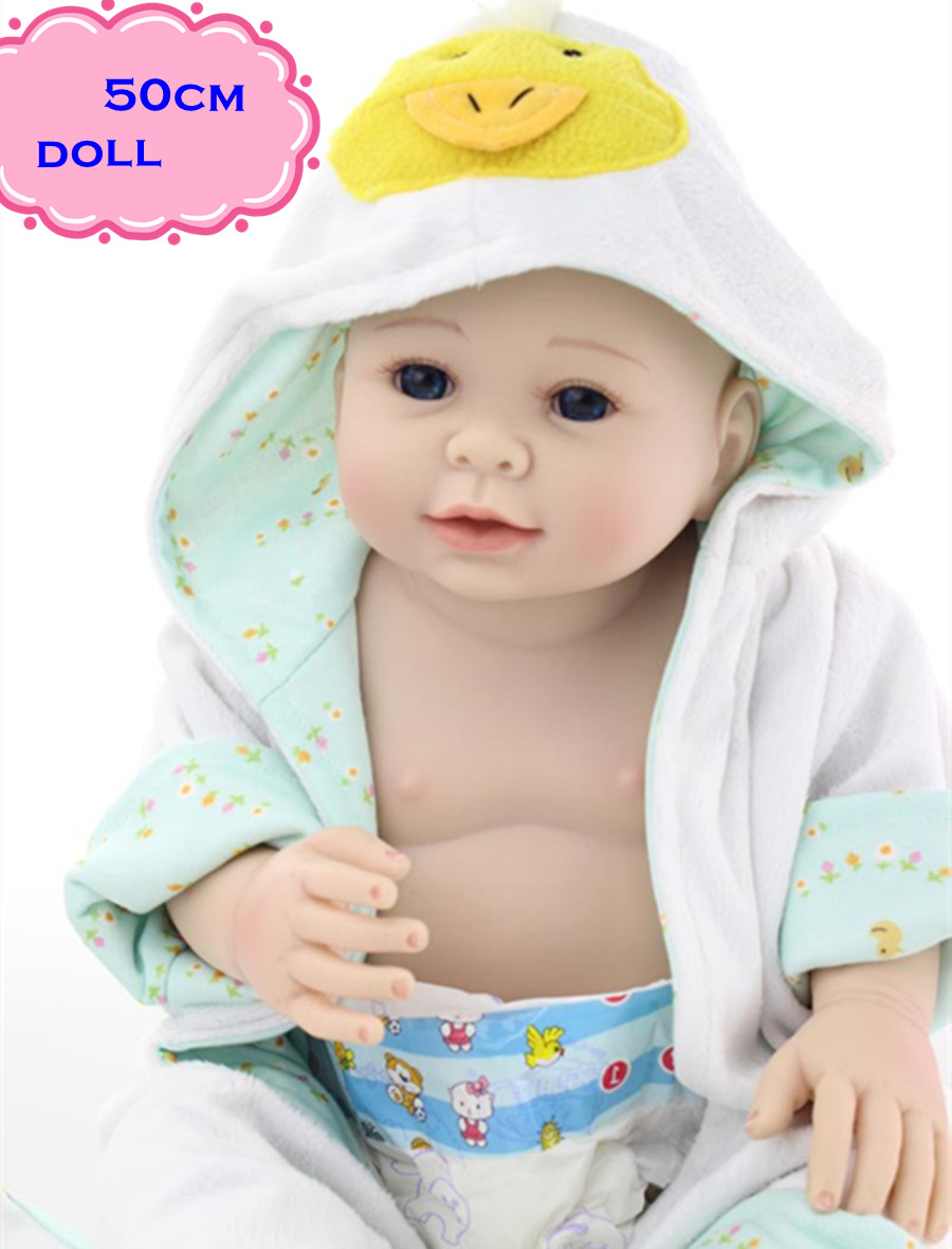 50CM Full Silicone Reborn Baby Boy Dolls With Lovely Clothes Safe Handmade Vinyl Baby Dolls For Children's Best Gifts Brinquedos full silicone reborn dolls
