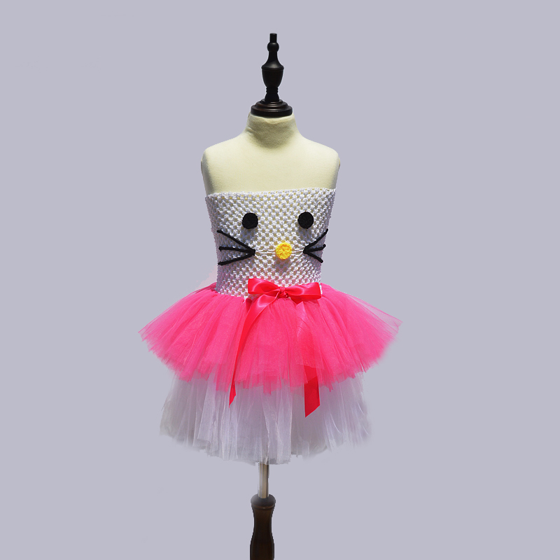 f3fe29fda Aliexpress.com : Buy White+Hot Pink Kitty Design Baby Girls Tutu Dress Kids  Girl Cartoon Dress Summer Children Cosplay Party Dress Baby Photo Props  from ...