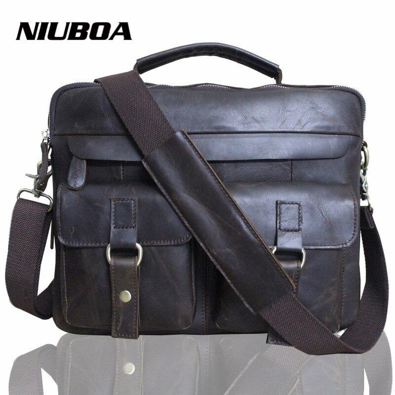 100% Genuine Leather Men Shoulder Bags Casual Messenger Bag Top Cowhide Leather Bag Business High Quality Shoulder Bag Handbags