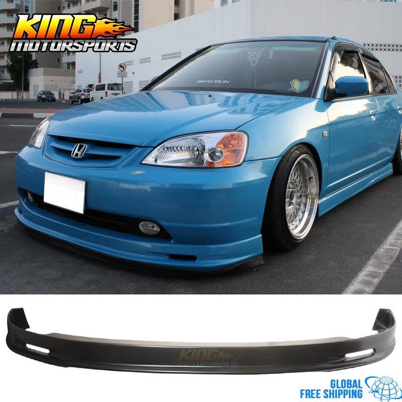 Fits 01-03 Honda Civic Mug Style PP Front Bumper Lip Spoiler Splitter 2Dr 4Dr
