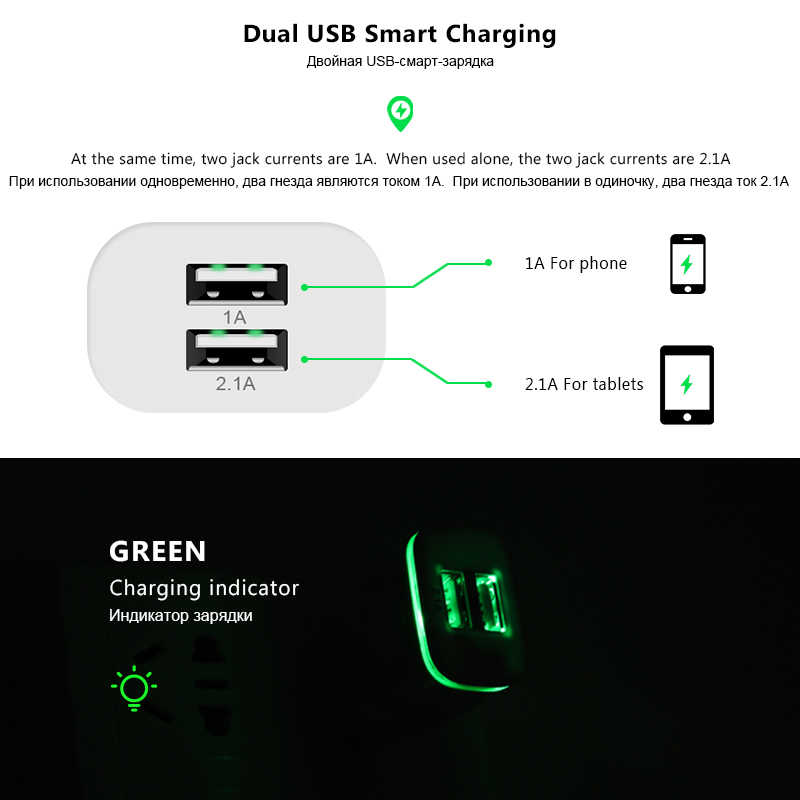 XEDAIN Smart LED Light EU/USA Plug 2 Ports USB Charger 5V 2.1A Fast Wall Adapter Mobile Phone Charging For iPhone Samsung Huawei