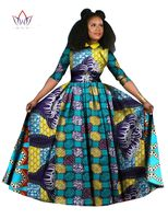 2016 Autumn Clothing Dashiki Batik Print African Dresses For Women Long Sleeves Pure Cotton Turn Down